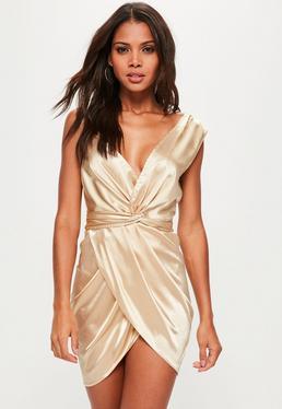 Asymmetrisches Satin Wickel Kleid mit Knotendetail in Gold