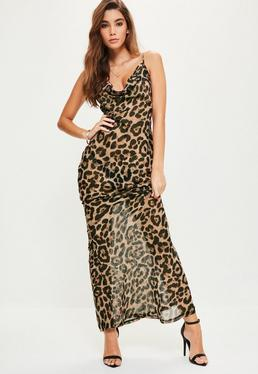 Brown Leopard Strappy Cowl Front Maxi Dress