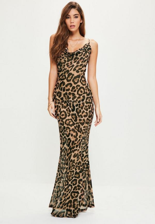 Brown Leopard Strappy Cowl Front Maxi Dress | Missguided