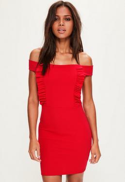 Czerwona sukienka mini bardot z krepy