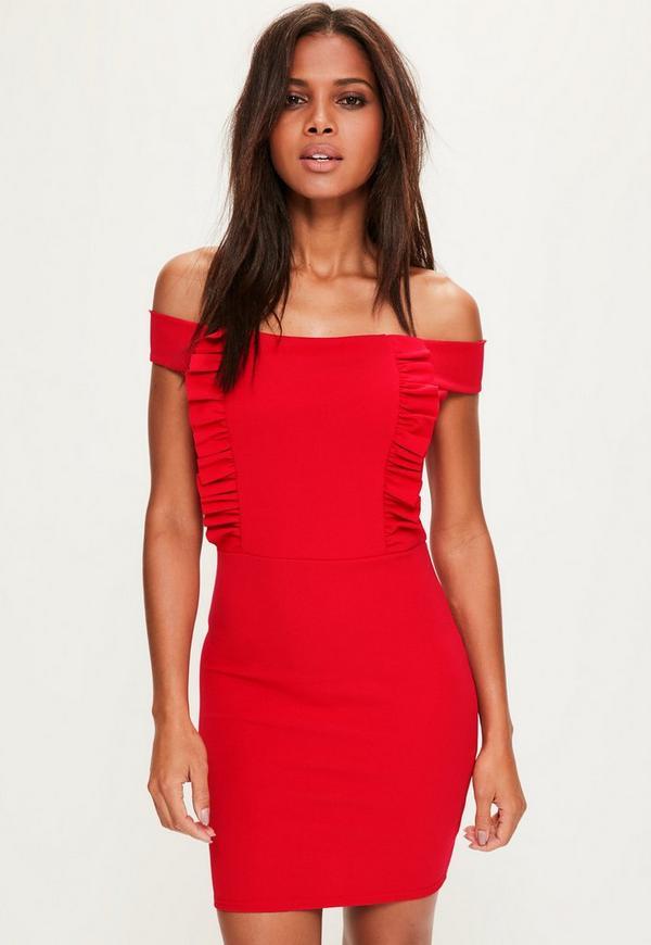 Red Bardot Crepe Mini Dress