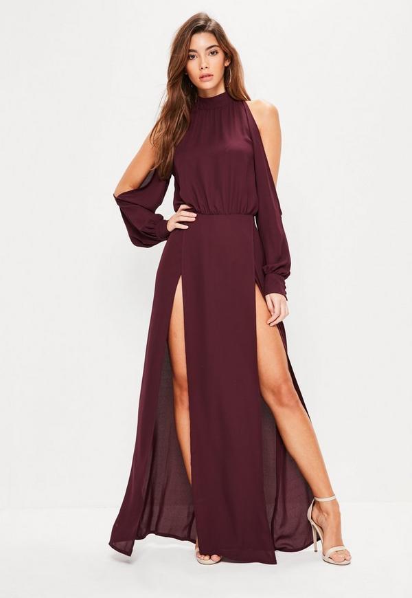 Burgundowa Sukienka Maxi Z Wyciętymi Ramionami I