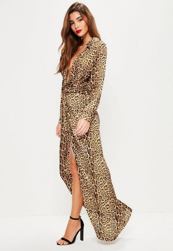 Nude Leopard Print Wrap Front Maxi Dress | Missguided