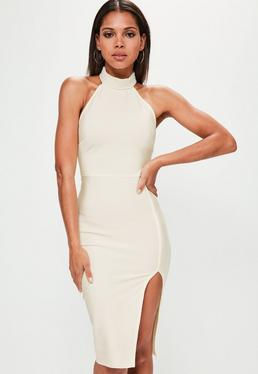 Cream Pearl High Neck Front Split Midi Dress