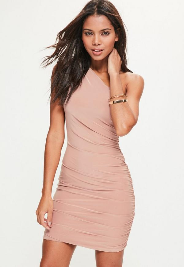 Nude Slinky Ruched Shoulder Mini Dress