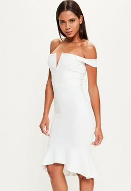 White V Bar Bardot Frill Hem Midi Dress