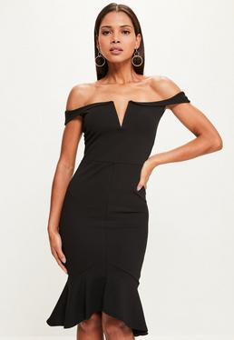 Black V Bar Bardot Frill Hem Midi Dress