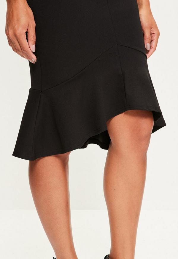 Black V Bar Bardot Frill Hem Midi Dress Missguided