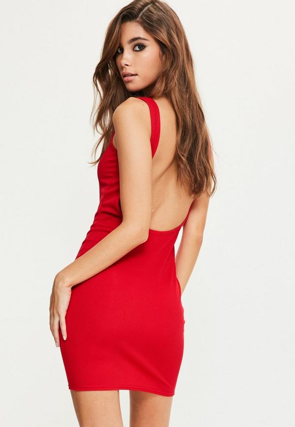 Red Scoop Back Bodycon Dress
