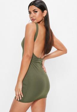 Khaki Ribbed Scoop Back Bodycon Dress