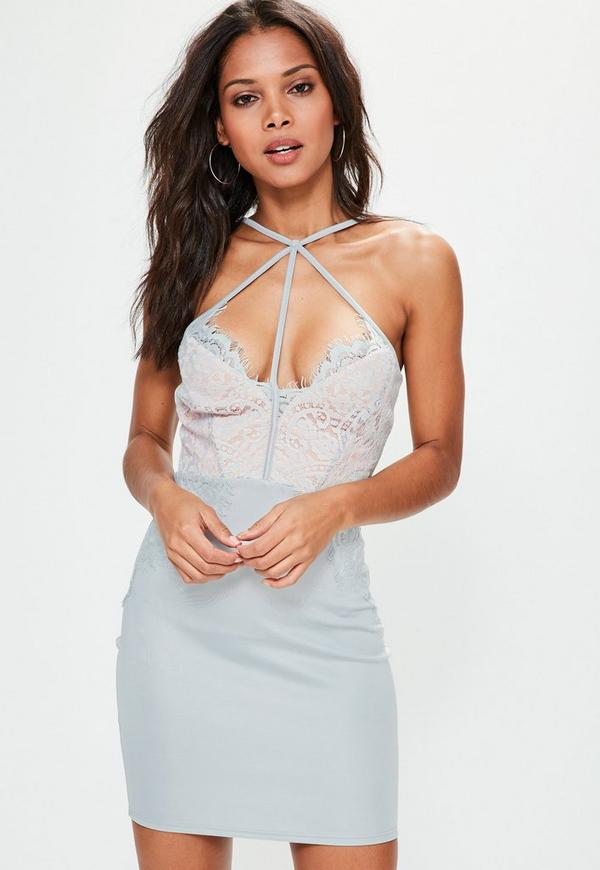 Grey Harness Lace Bodycon Dress