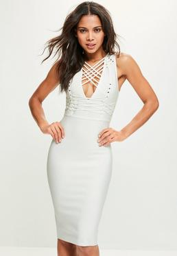 White Bandage Sleeveless Strappy Midi Dress