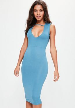 Blue Extreme Plunge Midi Band Dress