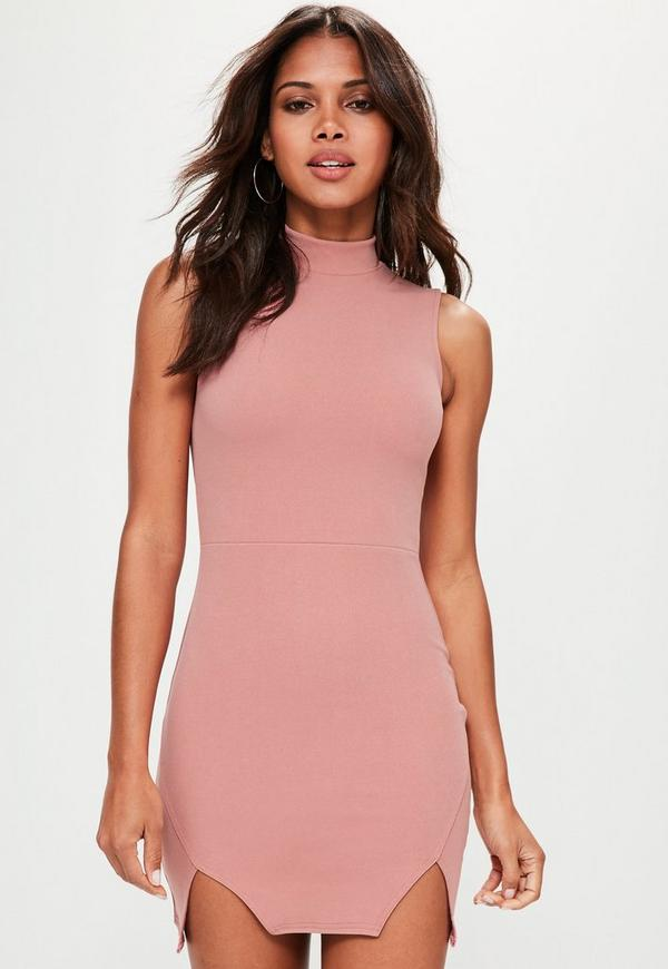 Pink High Neck Double Wrap Bodycon Dress