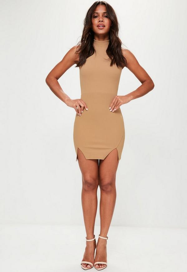Camel High Neck Double Wrap Bodycon Dress Missguided