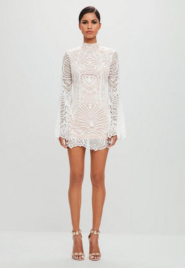 Peace + Love White Lace Flared Sleeve Bodycon Mini Dress