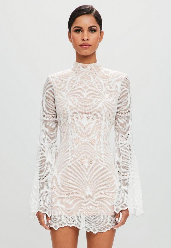 Peace   Love White Lace Flared Sleeve Bodycon Mini Dress ...