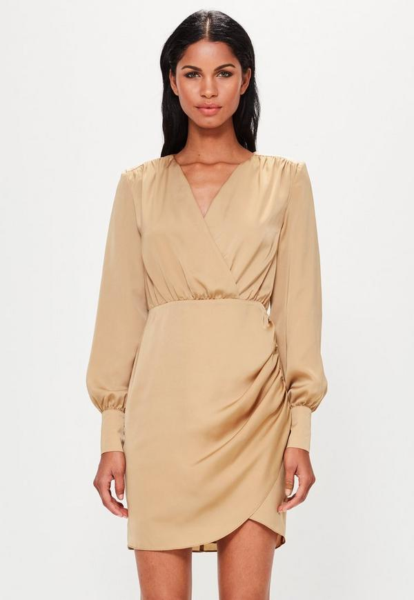 Peace + Love Tan Plunge Wrap Dress