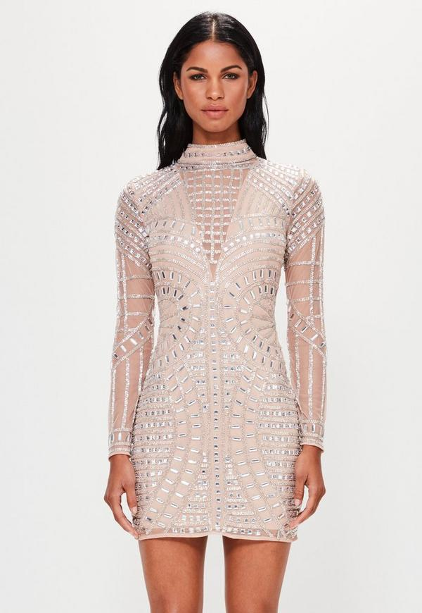 Peace + Love Nude Long Sleeve Embellished Bodycon Dress
