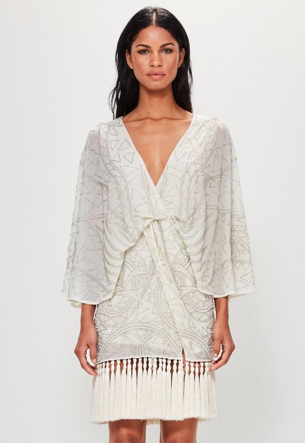 Peace + Love Cream Kimono Embellished Tassel Hem Dress