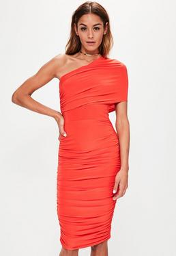 Red Slinky Double Layer One Shoulder Ruched Dress