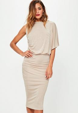 Nude Slinky One Sleeve Open Back Midi Dress