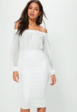 Midikleid mit Carmen-Mesh-Top in Weiß