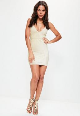 Cream Pleated Velvet Strappy Bodycon Dress