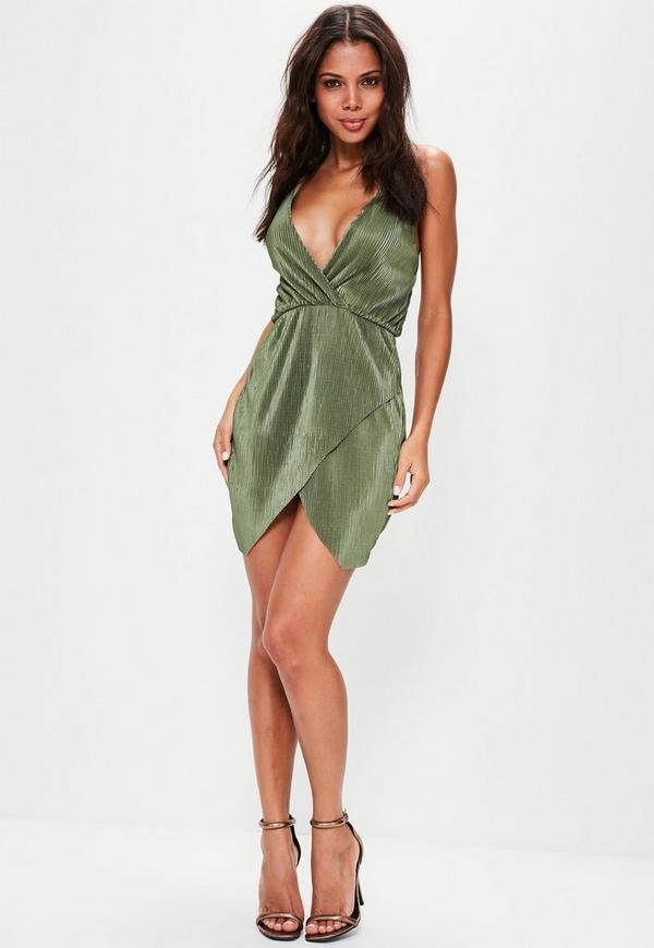 Khaki Crinkle Pleated Strappy Wrap Bodycon Dress