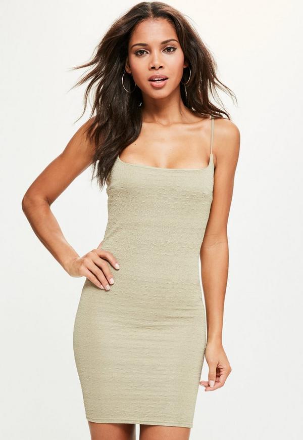 Green Textured Strappy Scoop Neck Boydcon Dress
