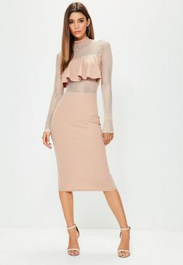 Nude Fishnet Insert Frill Detail Midi Dress