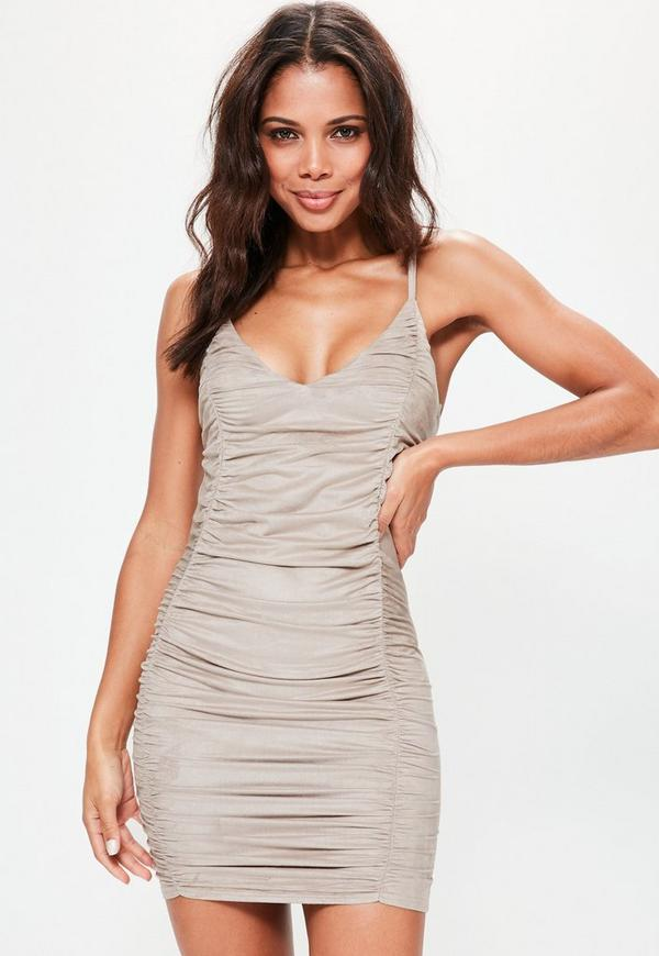 Nude Strappy Faux Suede Ruched Bodycon Dress