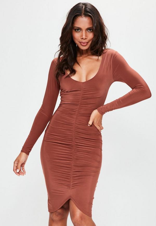 Orange Plunge Ruched Front Midi Dress