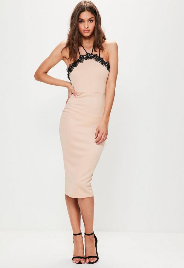 Nude Cross Strap Lace Trim Midi Dress