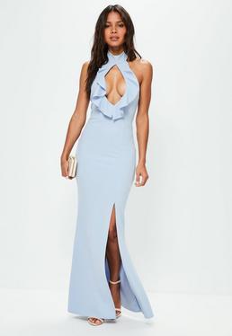 Niebieska sukienka maxi z golfem i wycięciem na dekolcie