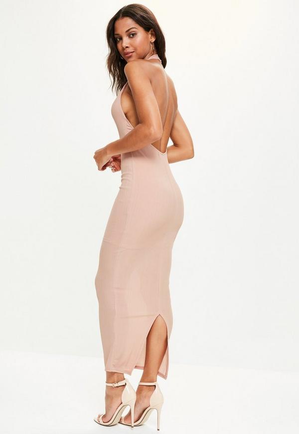 Pink High Neck Low Back Maxi Dress