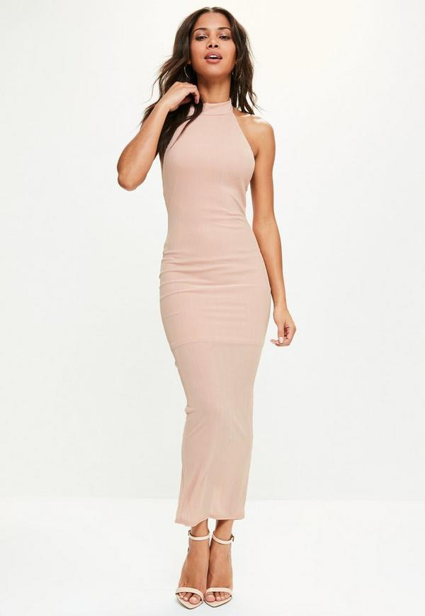 Pink High Neck Low Back Maxi Dress | Missguided
