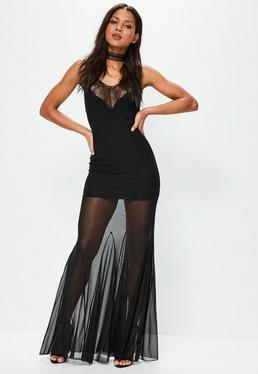 Black Strappy Mesh Lace Maxi Dress