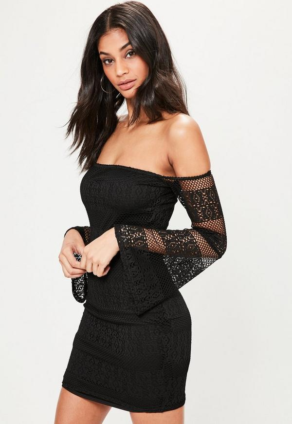 Black Lace Bardot Flared Sleeve Bodycon Dress