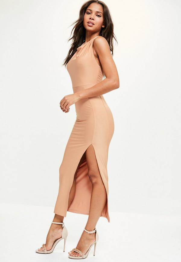 Nude Slinky Halterneck Thigh Split Dress