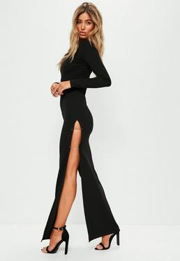Black Thigh Split Metal Bar Maxi Dress