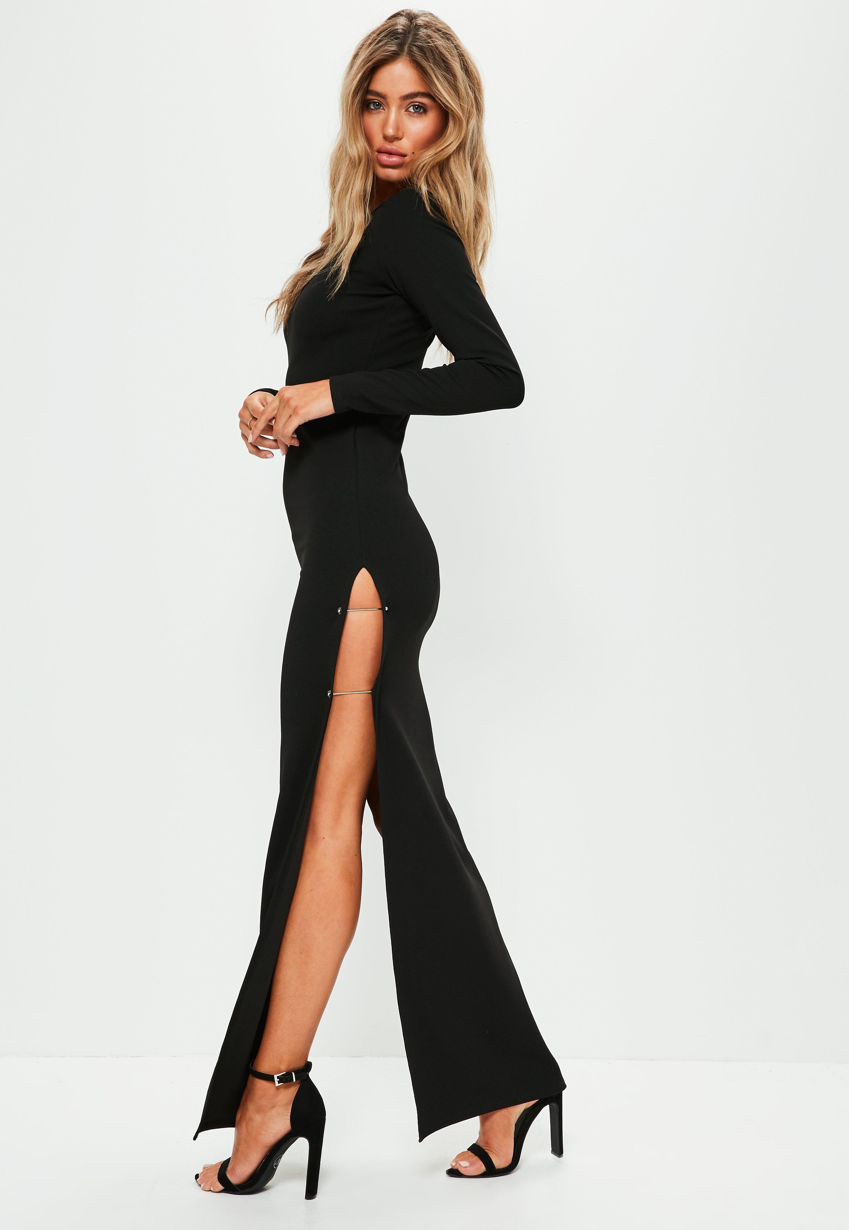Wedding Senior Prom Dresses prom dresses womens formal missguided black thigh split metal bar maxi dress