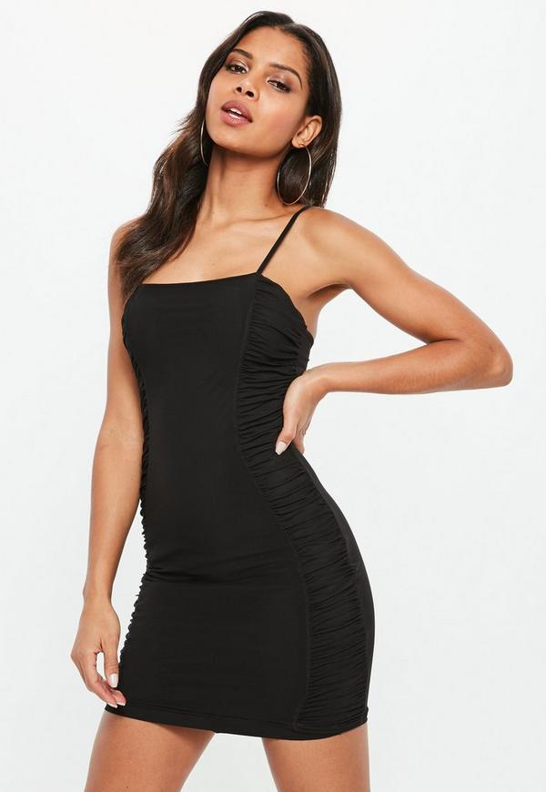 Black Mesh Strappy Ruched Bodycon Dress