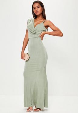 Green Asymmetric Drape Slinky Maxi Dress