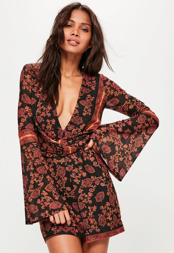 Black Print Twist Wrap Dress