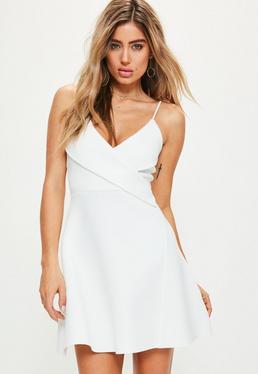 White Strappy Wrap Scuba Skater Dress