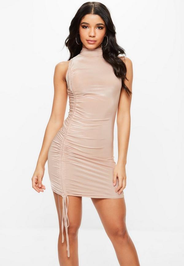 Nude High Neck Side Detail Mini Dress