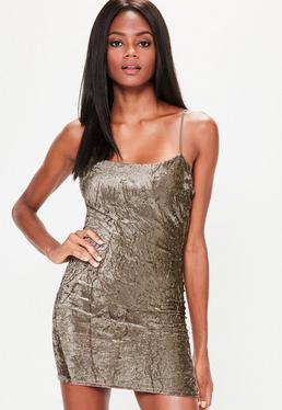 Brown Crinkle Velvet Strappy Bodycon Dress