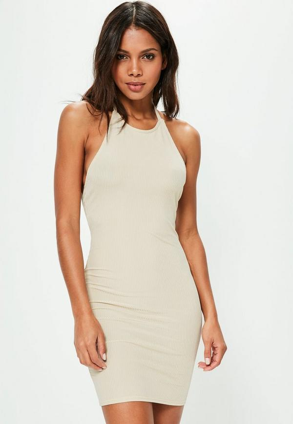 Nude Halterneck Ribbed Bodycon Dress