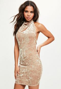 Nude Halter Cowl Neck Crushed Velvet Dress